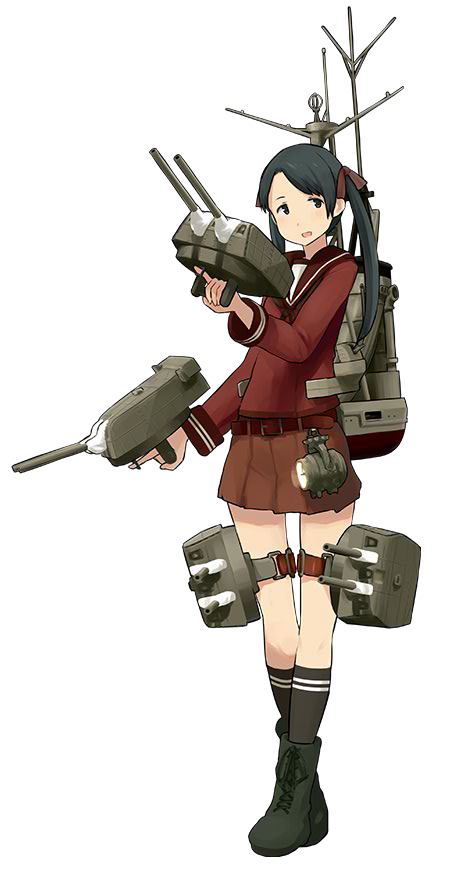 1girl belt black_eyes black_hair black_legwear boots brown_skirt hair_ribbon kantai_collection legs_crossed long_hair looking_to_the_side mikuma_(kantai_collection) official_art open_mouth red_ribbon ribbon rigging searchlight shibafu_(glock23) skirt socks solo standing thigh_strap transparent_background trigger_discipline turret twintails