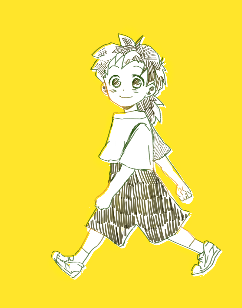 1boy black_eyes black_hair clenched_hands dragon_ball dragonball_z fukuko_fuku happy looking_at_viewer male_focus monochrome shirt short_hair shorts simple_background smile socks son_gohan walking white_shirt yellow_background