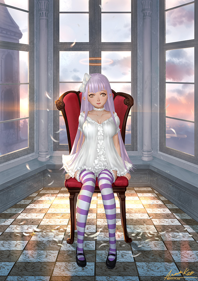1girl ariverkao bow breasts brown_eyes choker collarbone dress feathers hair_bow indoors large_breasts long_hair looking_at_viewer original pointy_ears silver_hair sitting solo striped striped_legwear thigh-highs white_dress window