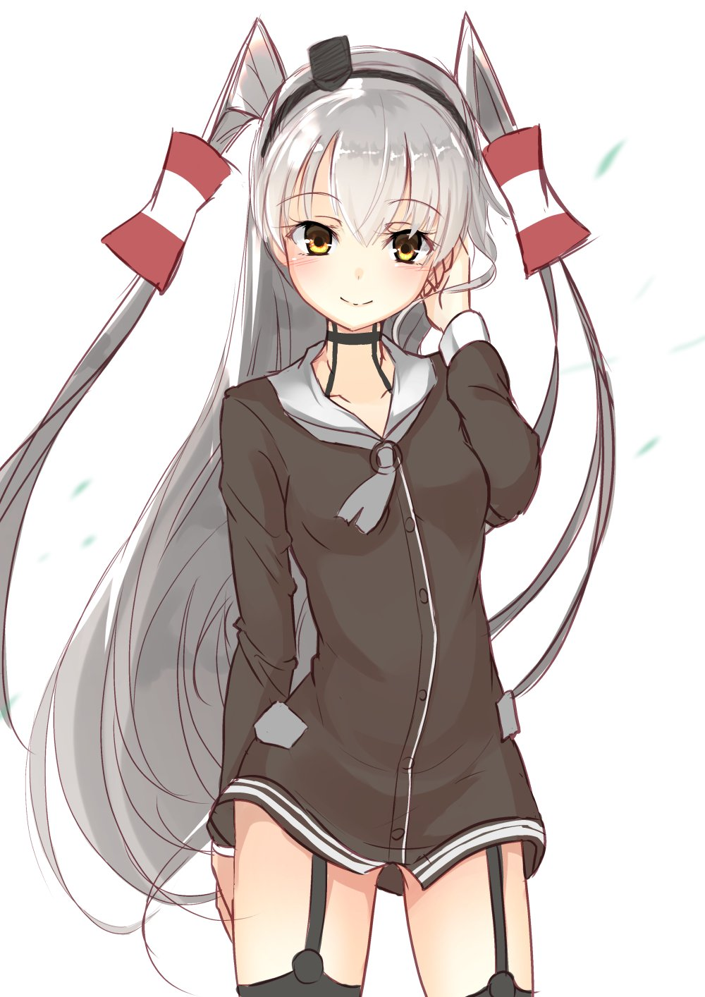 1girl amatsukaze_(kantai_collection) brown_dress brown_eyes cowboy_shot dress garter_straps hair_tubes hand_in_hair highres inu3 kantai_collection long_hair looking_at_viewer sailor_dress silver_hair simple_background smile solo two_side_up very_long_hair white_background