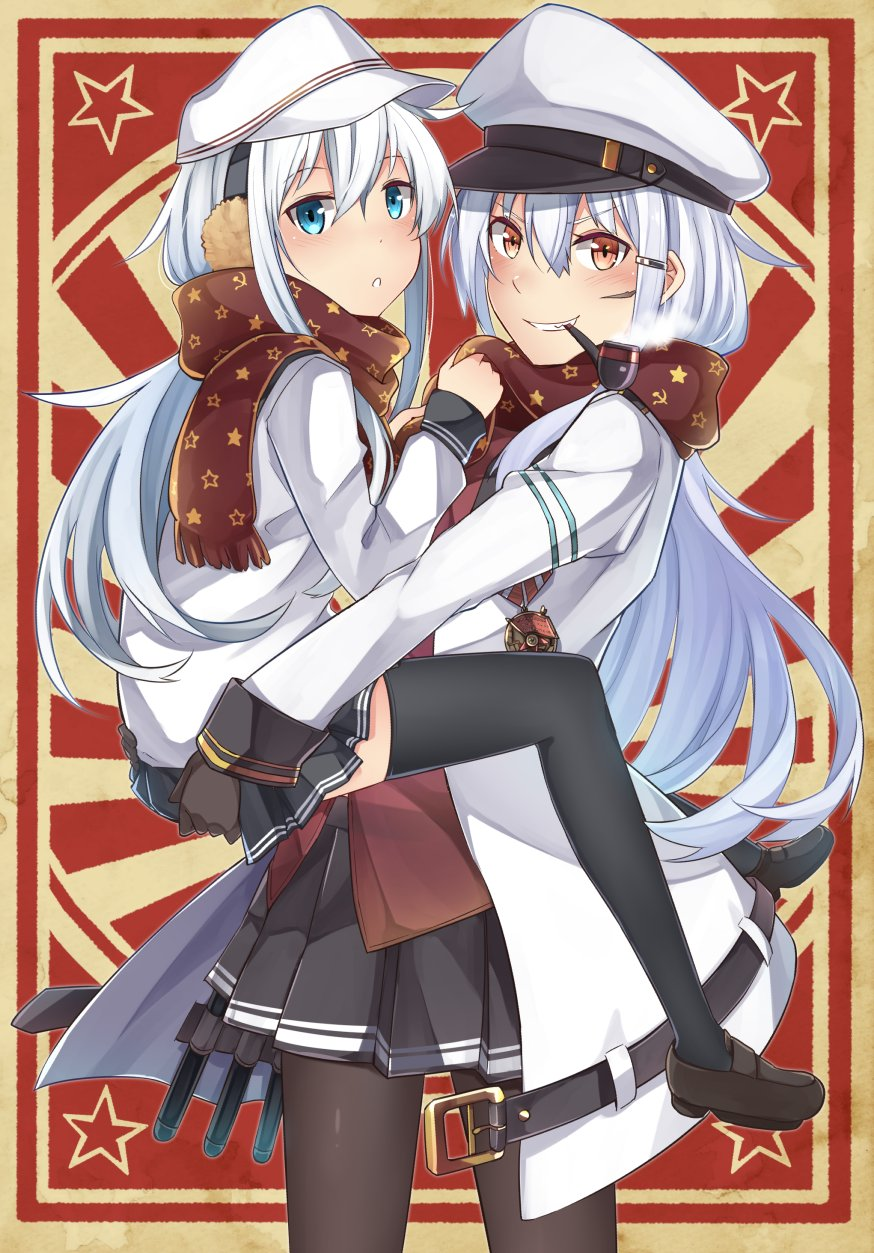 2girls belt black_legwear black_skirt blue_eyes blush brown_footwear brown_gloves earmuffs gangut_(kantai_collection) gloves grin hair_between_eyes hat hibiki_(kantai_collection) highres ido_(teketeke) jacket kantai_collection long_hair long_sleeves multiple_girls orange_eyes pantyhose peaked_cap pleated_skirt red_shirt scar school_uniform serafuku shirt shoes silver_hair skirt smile thigh-highs verniy_(kantai_collection) white_hat white_jacket