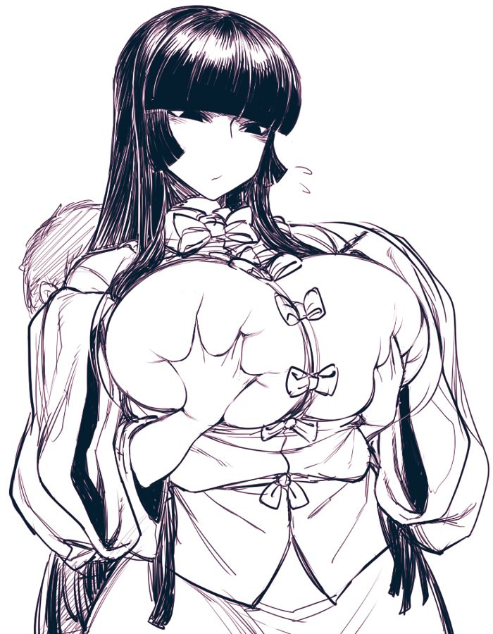 1boy 1girl breast_grab breasts deep_skin flying_sweatdrops grabbing grabbing_from_behind hime_cut houraisan_kaguya huge_breasts long_hair monochrome shirt sidelocks sketch skirt sleeves_past_wrists solo_focus space_jin touhou upper_body very_long_hair wide_sleeves