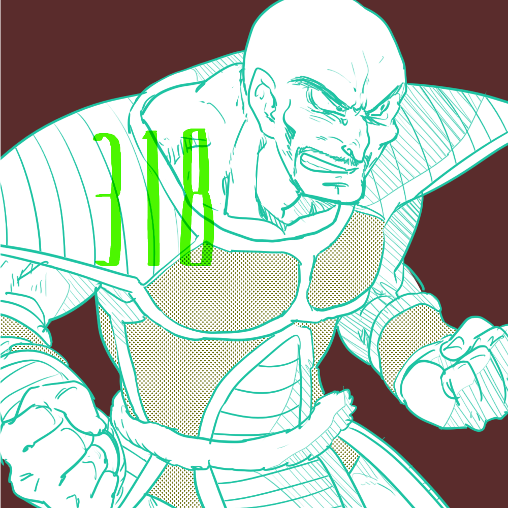 1boy armor bald clenched_hands dragon_ball dragonball_z facial_hair fighting_stance frown fukuko_fuku looking_away male_focus mustache nappa number red_background serious simple_background tail