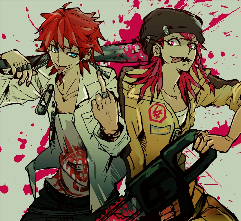 2boys alternate_hairstyle aqua_eyes baseball_bat beanie blood blood_splatter bracelet braid chainsaw collarbone crazy_eyes danganronpa ear_piercing earrings facial_hair goatee hat jacket jumpsuit kuwata_leon looking_at_viewer middle_finger nails open_mouth piercing pink_eyes pink_hair red_hair ring safety_pin sharp_teeth side_braid simple_background sleeves_rolled_up smile souda_kazuichi super_dangan_ronpa_2 tongue tongue_out tongue_piercing unzipped zipper