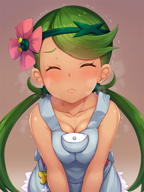 1girl bangs bare_arms closed_eyes dark_skin flower green_hair hair_flower hair_ornament incoming_kiss long_hair low_twintails mao_(pokemon) overalls pokemon pokemon_(anime) pokemon_(game) pokemon_sm pokemon_sm_(anime) sexually_suggestive sleeveless snowcanvas solo swept_bangs trial_captain twintails