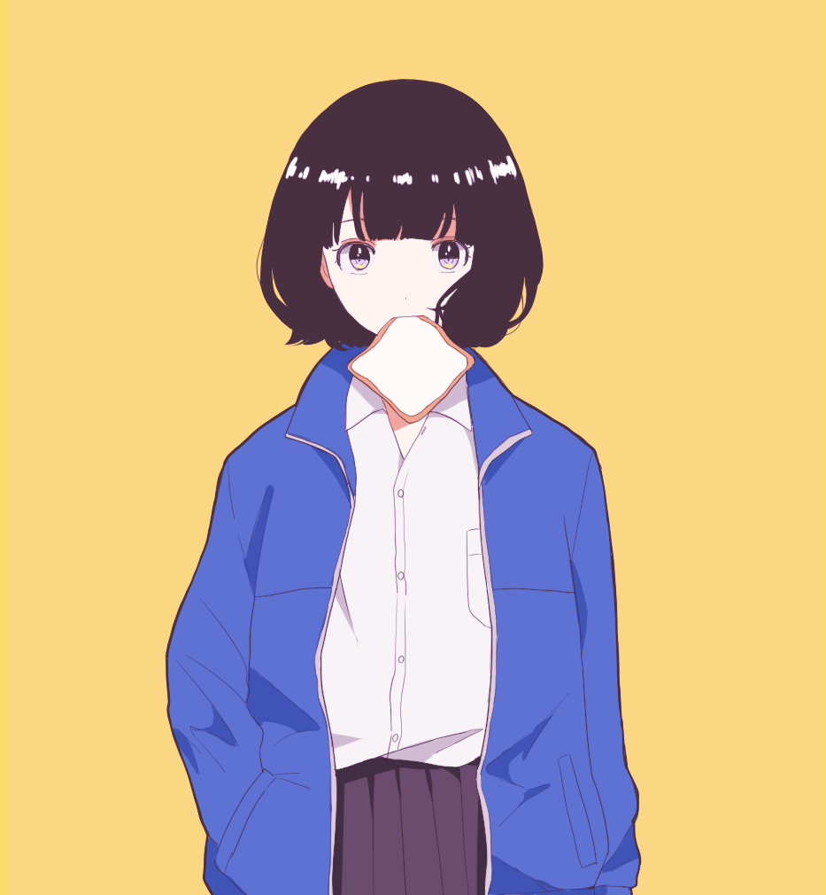1girl black_hair blue_jacket bread breast_pocket collared_shirt cowboy_shot food gumi. hand_in_pocket jacket long_sleeves looking_at_viewer mouth_hold original pleated_skirt pocket purple_skirt shirt short_hair simple_background skirt solo standing white_shirt yellow_background