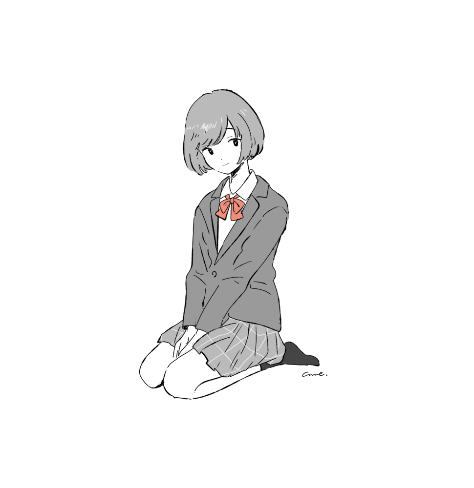 1girl bangs between_legs bow bowtie collared_shirt full_body greyscale gumi. hand_between_legs jacket long_sleeves monochrome original pleated_skirt red_neckwear school_uniform seiza shirt short_hair signature simple_background sitting skirt smile solo spot_color white_background