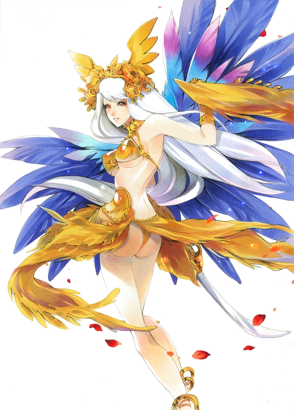 1girl anklet ass bangle bra bracelet breasts cleavage feathers hair_ornament headpiece highres holding jewelry jonathan_liang large_breasts lips long_hair looking_at_viewer midriff navel necklace saber_(weapon) sheena_(terra_battle) solo stomach sword terra_battle traditional_media underwear very_long_hair weapon white_hair