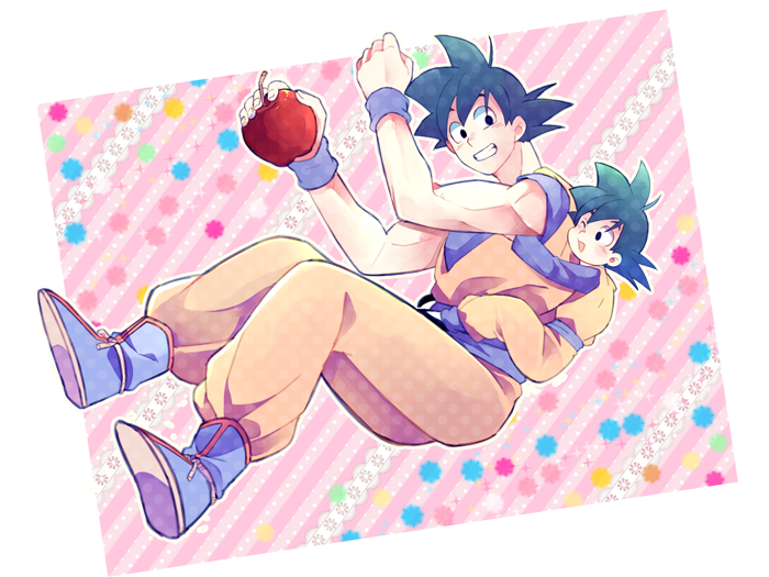 2boys apple black_eyes black_hair boots dougi dragon_ball dragonball_z father_and_son food fruit hug long_sleeves looking_at_another looking_back male_focus multicolored multicolored_background multiple_boys one_eye_closed open_mouth pink_background rochiko_(bgl6751010) short_hair smile son_gokuu son_goten spiky_hair white_background wristband