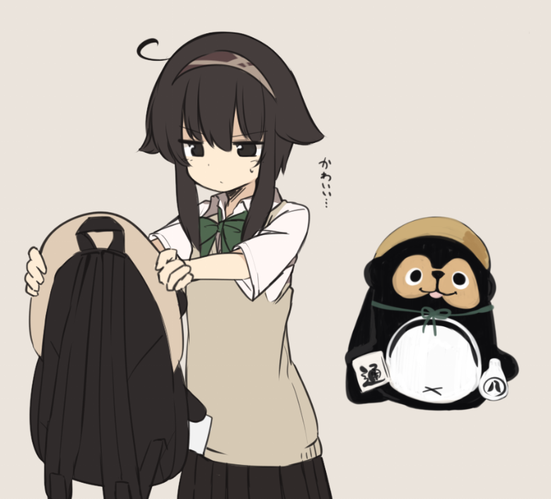 1girl ahoge animal_backpack bangs beige_background black_eyes black_hair black_skirt bow bowtie collared_shirt eyebrows_visible_through_hair green_neckwear hair_between_eyes hair_flaps hairband holding_backpack long_sleeves natsuki_teru original pleated_skirt school_uniform shikibe_ayaka shirt short_hair_with_long_locks sidelocks simple_background skirt sleeves_past_wrists solo sweater_vest translation_request white_shirt