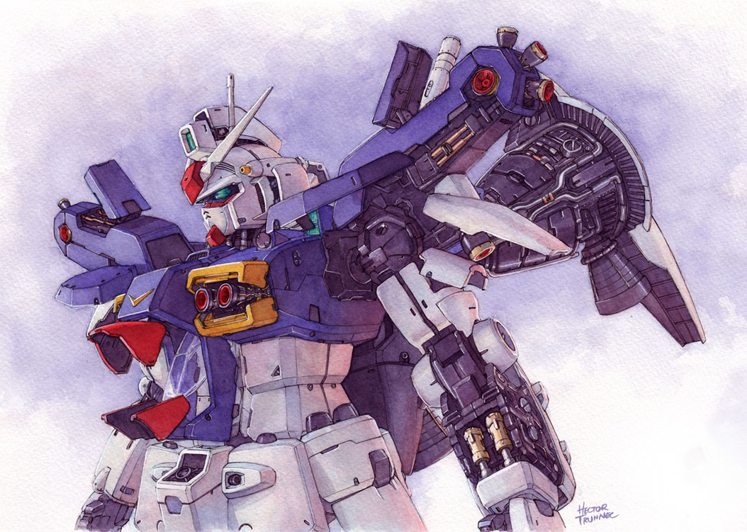 artist_name gundam gundam_0083 gundam_gp-01_zephyranthes hector_trunnec mecha no_humans traditional_media watercolor_(medium)