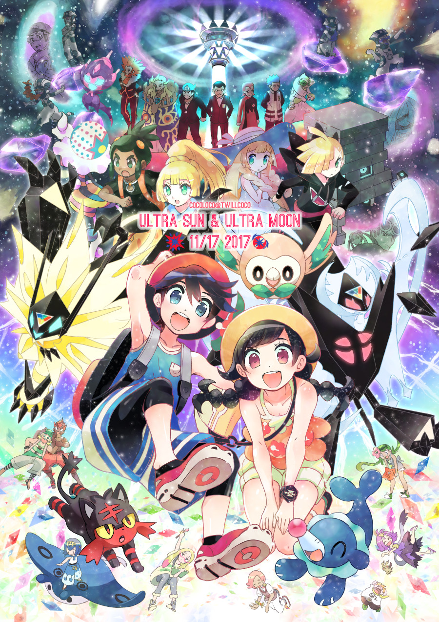 6+boys 6+girls acerola_(pokemon) akagi_(pokemon) amamo_(pokemon) aogiri_(pokemon) backpack bag blacephalon black_hair black_pants black_shirt blonde_hair blue_eyes blue_hair blue_shirt braid brother_and_sister burnet_(pokemon) closed_eyes copyright_name dark_skin dark_skinned_male dawn_wings_necrozma dress dual_persona dulse_(pokemon) dusk_mane_necrozma fleur-de-lis_(pokemon) flower formal geechisu_(pokemon) gladio_(pokemon) green_eyes green_hair guzma_(pokemon) hair_flower hair_ornament hair_over_one_eye hairband handbag hat hat_flower hau_(pokemon) highres hood hoodie ilima_(pokemon) kaki_(pokemon) kokoroko kukui_(pokemon) labcoat lillie_(pokemon) litten long_hair lusamine_(pokemon) mamane_(pokemon) mantine mao_(pokemon) matsubusa_(pokemon) matsurika_(pokemon) mimikyu mirin_(pokemon) mizuki_(pokemon_ultra_sm) mother_and_daughter mother_and_son multicolored multicolored_clothes multicolored_dress multicolored_hair multiple_boys multiple_girls open_mouth orange_hair orange_shirt overalls pants pink_hair poipole pokedex pokemon pokemon_(creature) pokemon_(game) pokemon_ultra_sm ponytail popplio purple_hair red_eyes red_shorts redhead rotom rotom_dex rowlet sakaki_(pokemon) sandals sauboo_(pokemon) shionira_(pokemon) shirt short_hair short_sleeves shorts siblings sleeveless sleeveless_dress sleeveless_shirt spiky_hair stakataka suiren_(pokemon) suit sun_hat tank_top torn_clothes trial_captain twin_braids twintails ultra_beast ultra_recon_squad_uniform white_dress white_hat white_shirt you_(pokemon_ultra_sm) z-ring