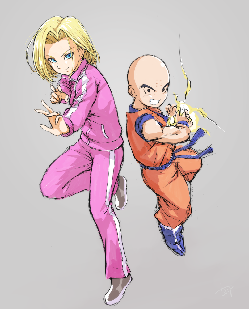 1boy 1girl android_18 black_eyes blonde_hair blue_eyes chocokin dougi dragon_ball dragon_ball_super energy_ball fighting_stance floating grey_background grin husband_and_wife jacket kuririn long_sleeves looking_at_viewer pants short_hair simple_background smile track_jacket track_pants track_suit wristband