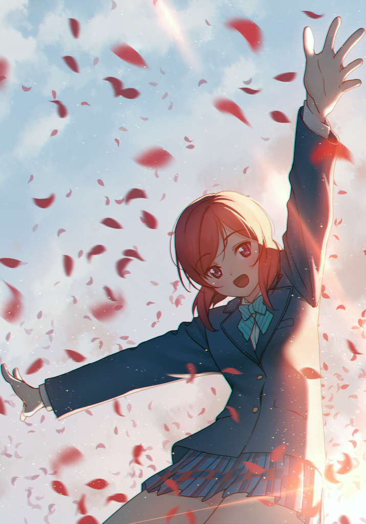 1girl arm_up bangs blazer blowing_leaves blue_bow blue_jacket blue_neckwear blue_skirt blush bow commentary_request day eyebrows_visible_through_hair happy jacket long_sleeves love_live! love_live!_school_idol_project nagareboshi nishikino_maki one_side_up open_mouth orange_hair otonokizaka_school_uniform outstretched_arms petals redhead shirt short_hair skirt sky smile solo spread_arms sunlight swept_bangs violet_eyes white_shirt