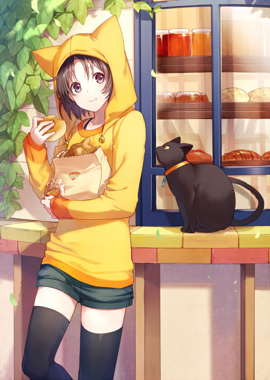 1girl :t animal_hood asahikawa_hiyori black_cat black_eyes black_hair black_legwear blush bread cat cat_hood closed_mouth cowboy_shot eating food hood long_sleeves looking_at_viewer original shirt short_hair shorts smile solo thigh-highs yellow_shirt