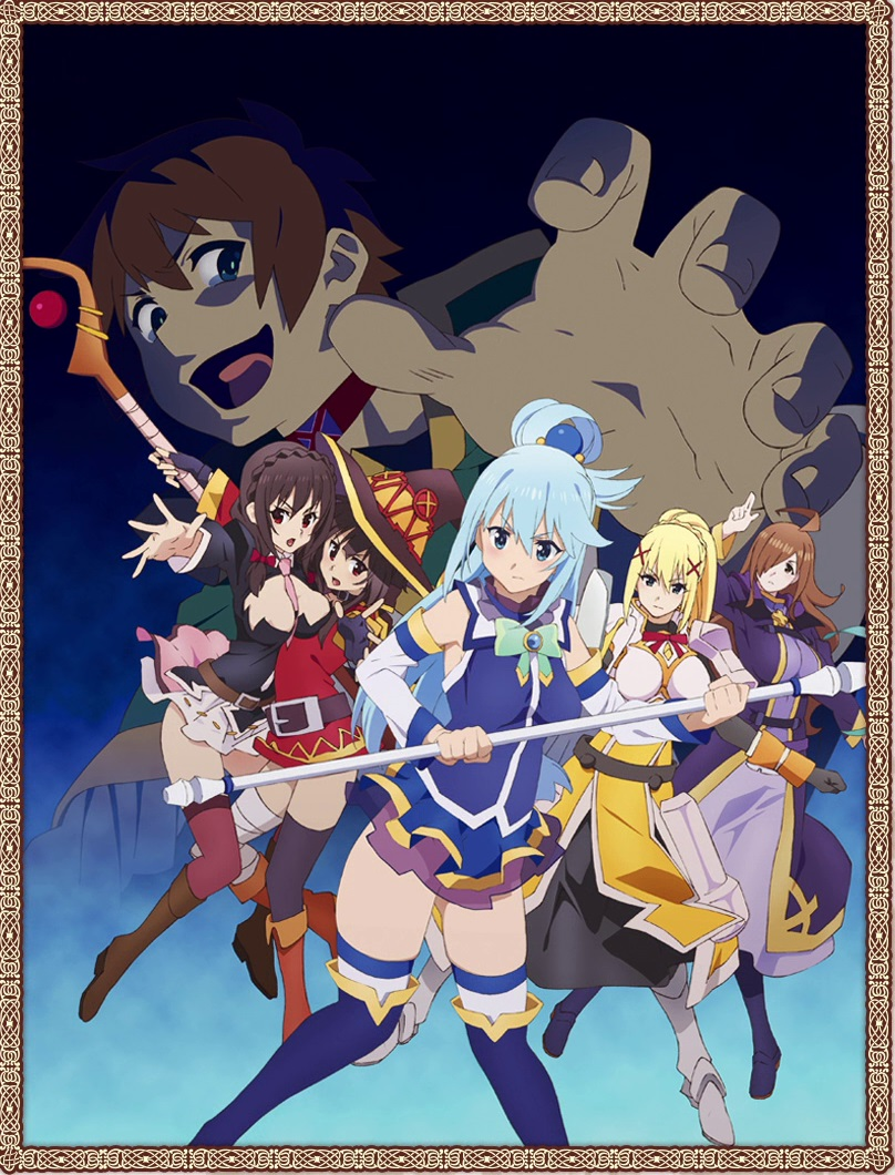 1boy 5girls ahoge aqua_(konosuba) armor bandage bandaged_leg belt black_gloves black_hair black_legwear blonde_hair blue_eyes blue_hair blush braid breasts brown_eyes brown_hair cape collar darkness_(konosuba) dress fingerless_gloves gloves hair_ornament hair_over_one_eye hair_rings hat holding holding_staff kono_subarashii_sekai_ni_shukufuku_wo! large_breasts long_hair looking_at_viewer megumin mismatched_legwear multiple_girls official_art open_mouth ponytail red_dress red_eyes ribbon satou_kazuma short_hair_with_long_locks single_thighhigh staff thigh-highs witch_hat wiz_(konosuba) x_hair_ornament yunyun_(konosuba)