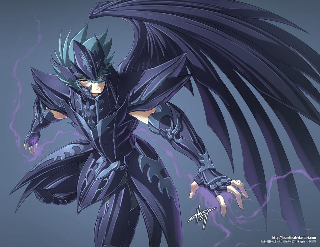 1boy armor bennu_kagaho full_armor hair_between_eyes helmet jesonite male_focus purple_wings saint_seiya saint_seiya:_the_lost_canvas solo spiky_hair violet_eyes wings
