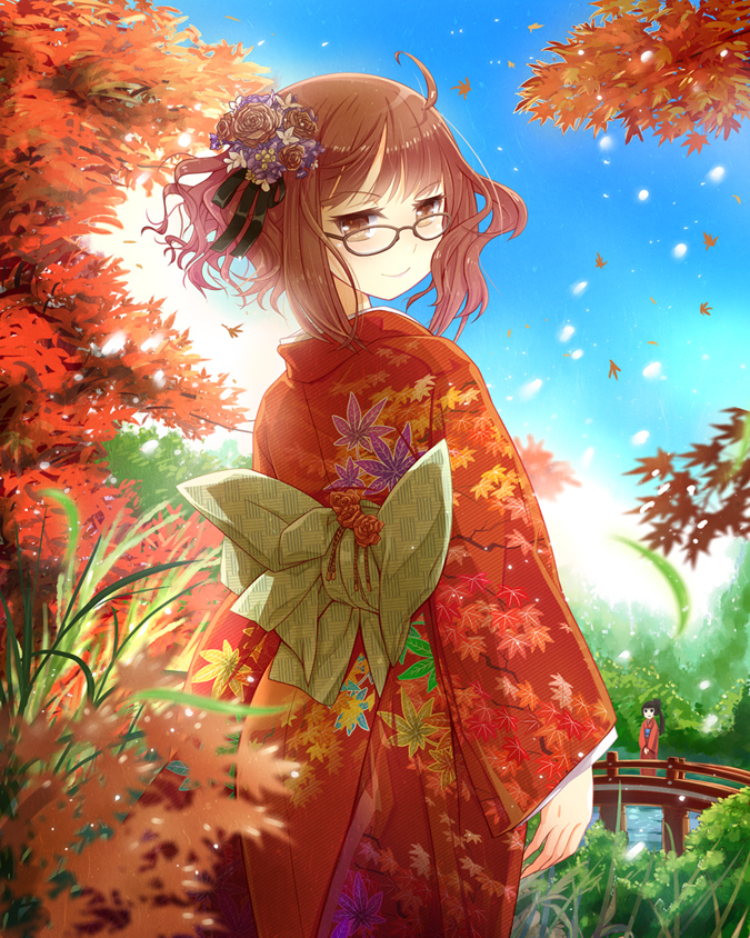 2girls ahoge arms_at_sides autumn_leaves bangs black_hair blue_sky blunt_bangs bridge brown_eyes brown_hair cowboy_shot curly_hair day flower from_behind glasses hair_flower hair_ornament hair_ribbon japanese_clothes jitome kazu kikuko_(kazu) kimono leaf leaves_in_wind light_smile looking_at_viewer looking_back multicolored_hair multiple_girls obi outdoors pink_hair pollen pond ponytail ribbon sash short_hair_with_long_locks sky standing tree v_arms weeds
