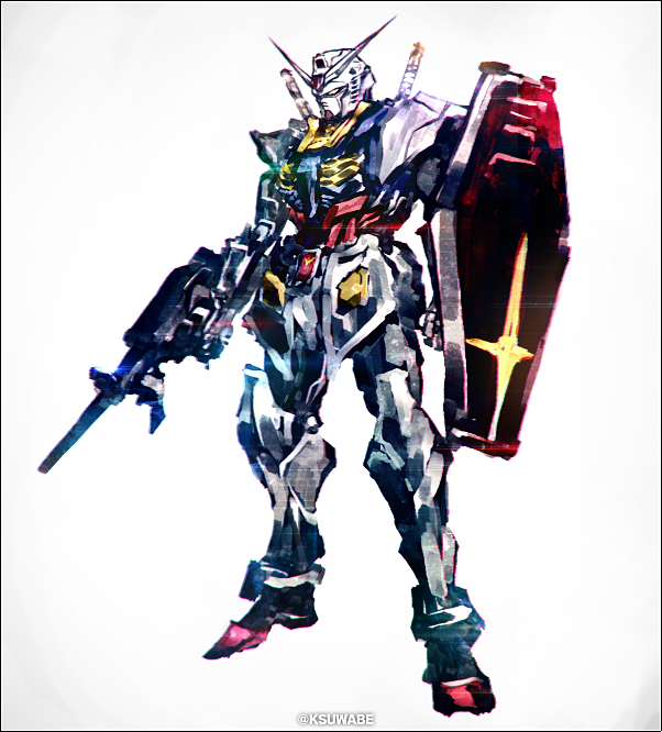 black_border border full_body grey_background gun gundam holding holding_gun holding_shield holding_weapon kei-suwabe mecha no_humans rx-78-2 shield solo standing twitter_username weapon