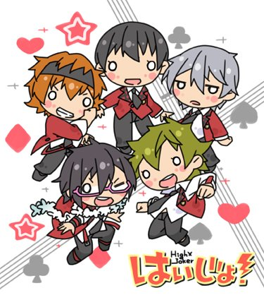 5boys akiyama_hayato black_hair blush_stickers chibi club_(shape) diamond_(shape) fuyumi_jun glasses green_hair headband heart high_x_joker idol idolmaster idolmaster_side-m iseya_shiki k-on! lei logo_parody lowres multiple_boys nyagakiya orange_hair parody pink-framed_eyewear sakaki_natsuki silver_hair simple_background spade_(shape) wakazato_haruna white_background