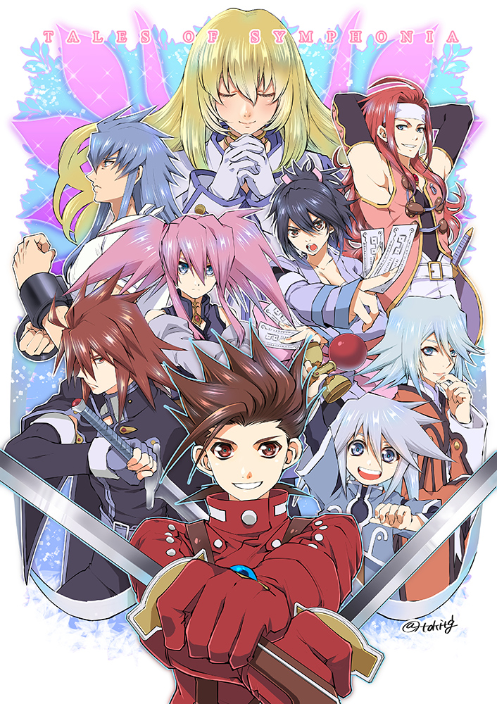 4girls 5boys armpits between_fingers black_gloves black_hair blonde_hair blue_eyes blue_gloves blue_hair brown_eyes brown_hair closed_eyes collet_brunel copyright_name dual_wielding everyone expressionless genius_sage gloves hands_clasped holding holding_sword holding_weapon kendama kratos_aurion lloyd_irving long_hair looking_at_viewer multiple_boys multiple_girls ofuda own_hands_together pink_hair presea_combatir red_eyes red_gloves red_shirt redhead refill_sage regal_bryan sheena_fujibayashi shirt short_hair sidelocks silver_hair smile spiky_hair suspenders sword tales_of_(series) tales_of_symphonia tktg twintails twitter_username weapon white_gloves white_headband wings zelos_wilder