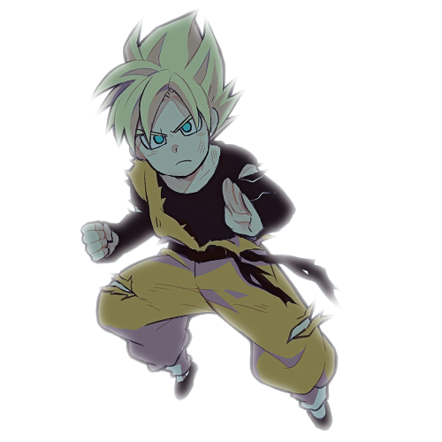 1boy black_shirt blonde_hair blue_eyes clenched_hand dougi dragon_ball dragonball_z fighting_stance frown long_sleeves looking_at_viewer lowres male_focus rochiko_(bgl6751010) serious shirt short_hair simple_background son_goten spiky_hair super_saiyan white_background