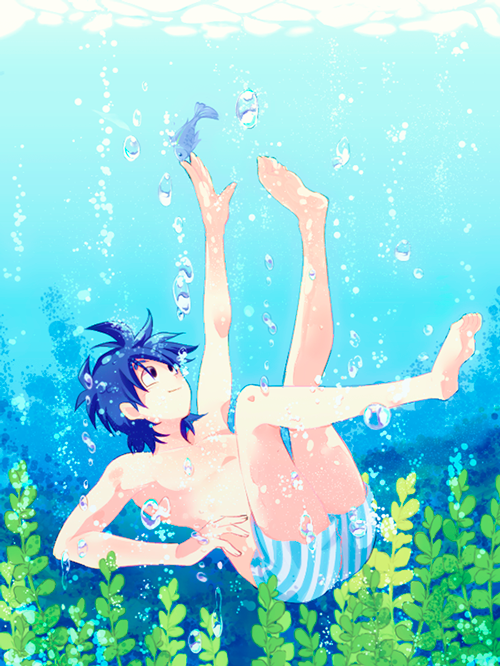 1boy algae bare_arms bare_chest bare_legs black_eyes black_hair boxers bubble dragon_ball dragonball_z fish happy looking_up male_focus outstretched_hand rochiko_(bgl6751010) short_hair smile son_goten underwater underwear