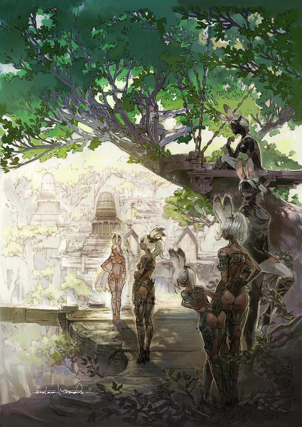 6+girls animal_ears ass breasts cleavage commentary dark_skin final_fantasy final_fantasy_xii high_heels highres leaf minaba_hideo multiple_girls official_art parted_lips rabbit_ears scenery silver_hair square_enix tree viera village visor_(armor)