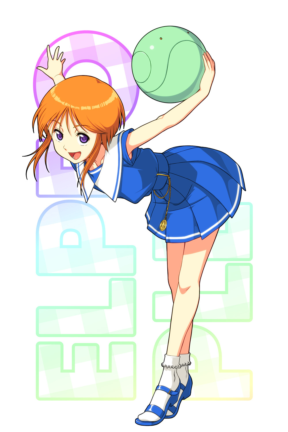 1girl bobby_socks bow character_name collarbone dress elpeo_puru exit_nothing full_body gundam gundam_zz haro highres looking_at_viewer open_mouth open_toe_shoes orange_hair outstretched_arms pocket_watch sailor_dress short_hair sidelocks socks standing violet_eyes watch