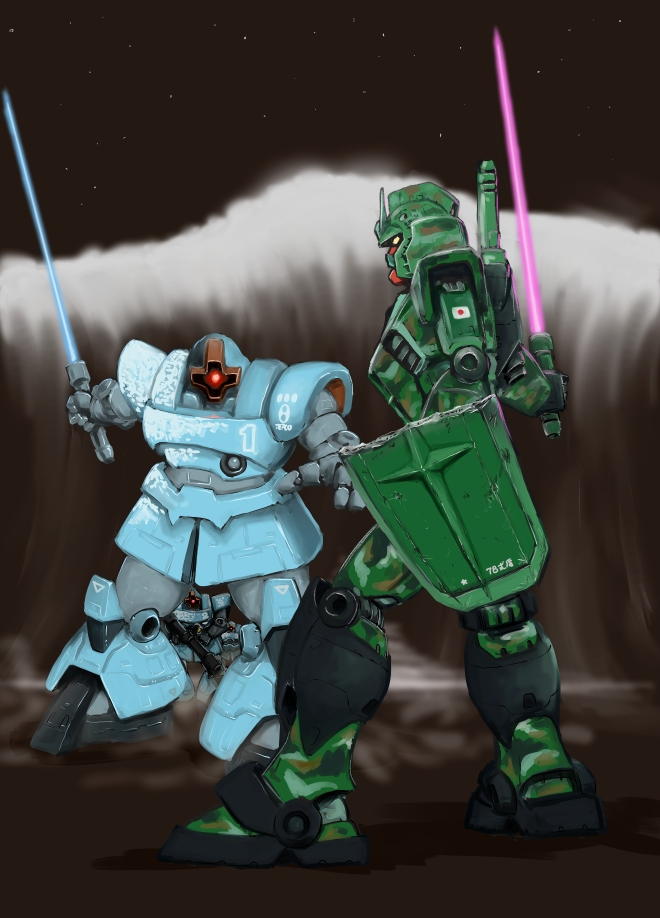 beam_saber broken_shield camouflage gundam holding holding_shield holding_sword holding_weapon mecha rick_dom_ii rock rx-78-2 shield standing sword taganer weapon