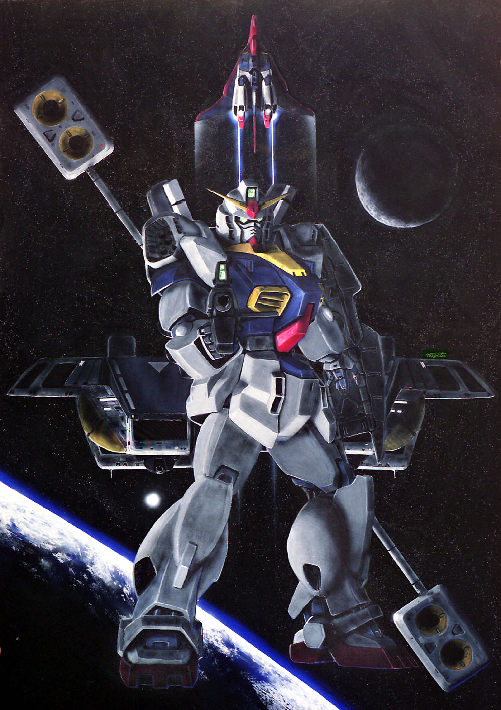 argama beam_rifle energy_gun gun gundam gundam_mk_ii highres holding holding_gun holding_shield holding_weapon mecha oldschool rifle shield space space_craft taganer weapon zeta_gundam zeta_gundam_(mobile_suit)
