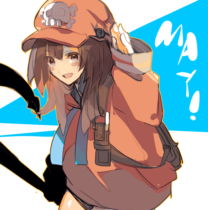 1girl anchor backpack bag bangs baseball_cap blunt_bangs blush brown_eyes brown_hair coat guilty_gear_2020 hat hyakuhachi_(over3) may_(guilty_gear) orange_coat orange_headwear oversized_clothes skull_and_crossbones solo