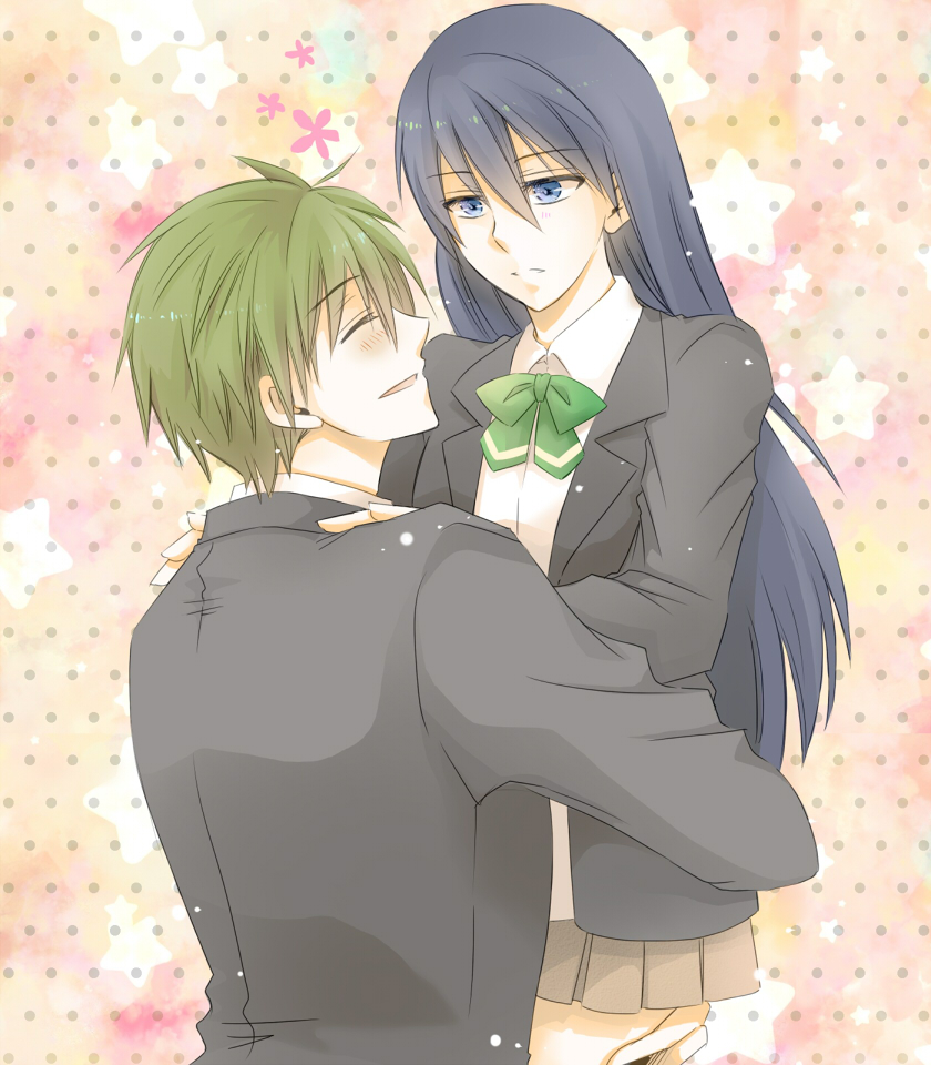 1boy 1girl artist_request blue_eyes blue_hair blush closed_eyes free! genderswap genderswap_(mtf) green_hair hair_between_eyes hands_on_another's_shoulders holding lifting long_hair looking_at_another nanase_haruka_(free!) open_mouth school_uniform short_hair simple_background smile star tachibana_makoto