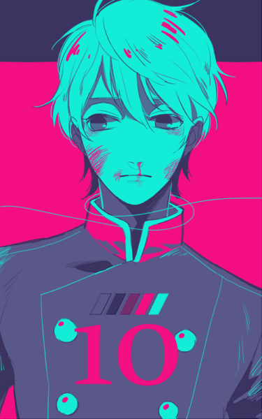 1boy aldnoah.zero bleeding blood blood_on_face blue bruise bruise_on_face color_guide freestyle18 hair_between_eyes injury looking_down military military_uniform multiple_monochrome nosebleed short_hair slaine_troyard solo uniform upper_body