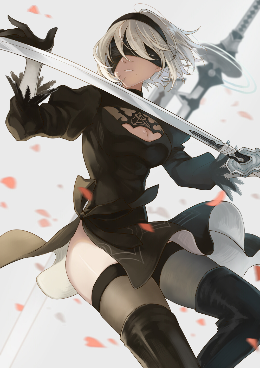 1girl black_dress black_footwear black_legwear blindfold blurry blurry_background blurry_foreground boots breasts cleavage cleavage_cutout commentary dress feather-trimmed_sleeves feet_out_of_frame fighting_stance hairband highres hips holding holding_sword holding_weapon juliet_sleeves large_breasts long_sleeves mole mole_under_mouth nier_(series) nier_automata parted_lips petals puffy_sleeves shioha solo sword teeth thigh-highs weapon white_background white_hair yorha_no._2_type_b