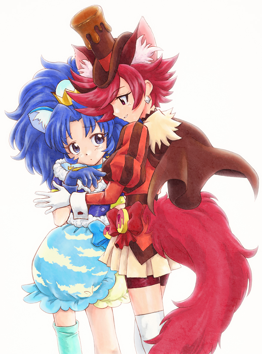 2girls animal_ears bangs bike_shorts blue_eyes blue_gloves blue_hair blue_legwear blue_neckwear blue_shirt blue_skirt brown_cape brown_hat brown_neckwear cape choker cowboy_shot crown cure_chocolat cure_gelato dog_ears dog_tail earrings extra_ears gloves hat highres jewelry kenjou_akira kirakira_precure_a_la_mode layered_skirt lion_ears long_hair looking_at_another magical_girl mini_crown multiple_girls nib_pen_(medium) parted_bangs precure puffy_sleeves red_eyes red_shorts redhead shirt short_hair shorts shorts_under_skirt simple_background single_thighhigh skirt smile swept_bangs tail tategami_aoi thigh-highs top_hat traditional_media unno_hotaru white_background white_gloves white_skirt