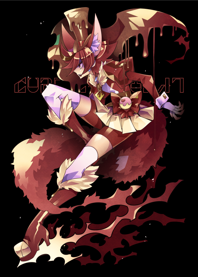 1girl animal_ears bangs bike_shorts black_background boots bow brown_cape brown_hair brown_hat cape character_name cure_chocolat dog_ears dog_tail extra_ears from_side full_body gloves hat juliet_sleeves kenjou_akira kirakira_precure_a_la_mode knee_boots long_sleeves magical_girl multicolored_hair ninomae precure profile puffy_sleeves red_bow red_eyes red_footwear red_shorts redhead shaded_face short_hair shorts shorts_under_skirt simple_background skirt solo standing standing_on_one_leg streaked_hair swept_bangs tail thigh-highs top_hat two-tone_hair white_gloves white_legwear white_skirt