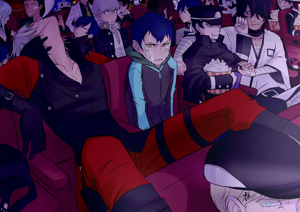 6+boys anger_vein angry black_hair blue_eyes cabbie_hat clenched_hands crossover dante_(devil_may_cry) devil_summoner eating eyelashes fangs food gouto hat hitoshura hood hoodie jack_frost kurusu_akira kuzunoha_raidou looking_at_another louis_cypher movie_theater multiple_boys narukami_yuu necktie nose_bubble obariyon pale_skin persona persona_2 persona_3 persona_4 persona_5 pixie_(megami_tensei) popcorn pyro_jack school_uniform shin_megami_tensei shin_megami_tensei_iii:_nocturne sitting sleeping snoring suou_tatsuya toudou_naoya yellow_eyes yellow_neckwear yuuki_makoto