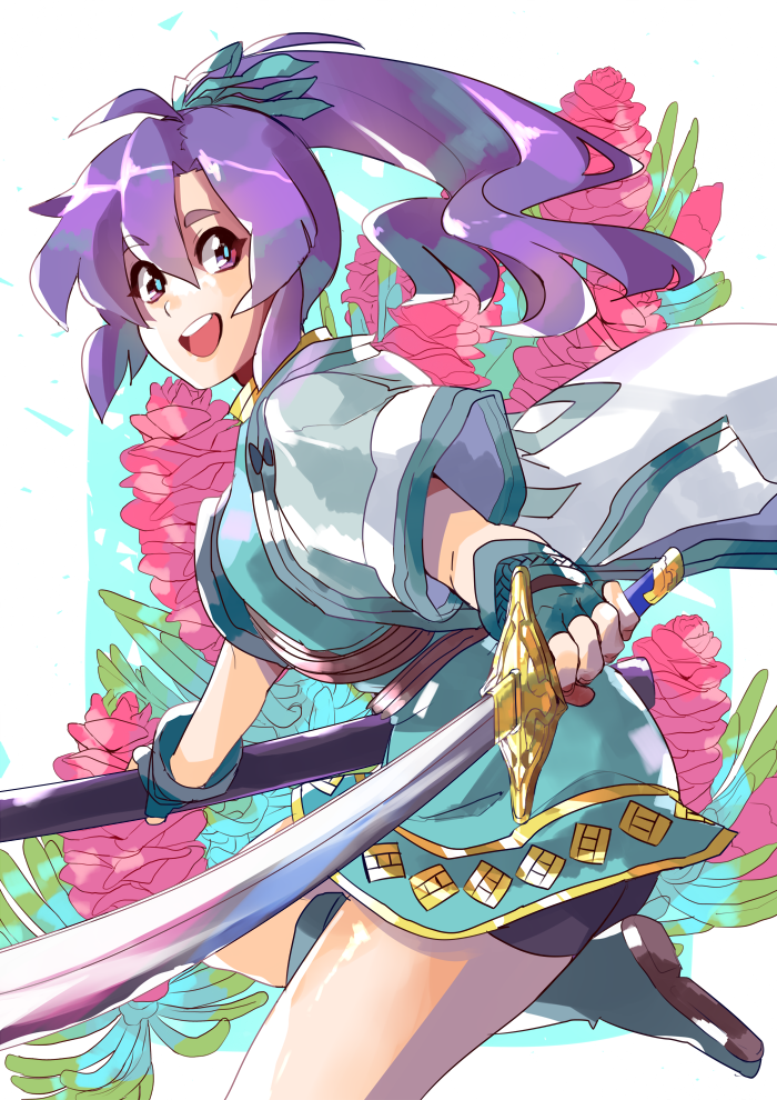 1girl blue_hair fingerless_gloves fir fire_emblem fire_emblem:_fuuin_no_tsurugi floral_background gloves holding holding_sword holding_weapon solo sword weapon