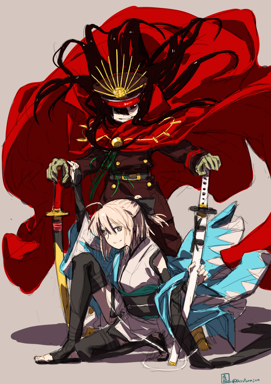 2girls ahoge bangs black_bow black_hair black_legwear blonde_hair bow breasts cape demon_archer family_crest fate/grand_order fate_(series) floating_hair grey_background hair_bow hand_on_another's_arm hat highres holding holding_weapon japanese_clothes katana kimono long_hair military military_hat military_uniform multiple_girls okita_souji_(fate) one_knee red_eyes sakura_saber scarf shinsengumi short_hair smile standing sword thigh-highs uniform weapon wind wind_lift yellow_eyes