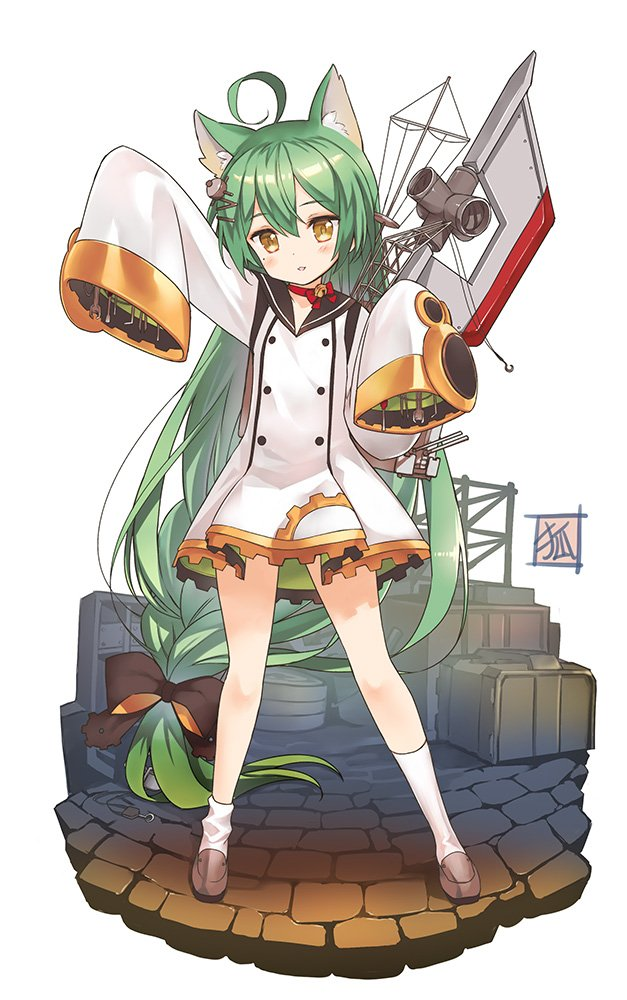 1girl ahoge akashi_(azur_lane) animal_ears azur_lane black_sailor_collar cat_ears cobblestone dress full_body green_hair hair_between_eyes koin_(foxmark) long_hair looking_at_viewer machinery mole mole_under_eye sailor_dress sleeves_past_wrists solo standing white_dress yellow_eyes