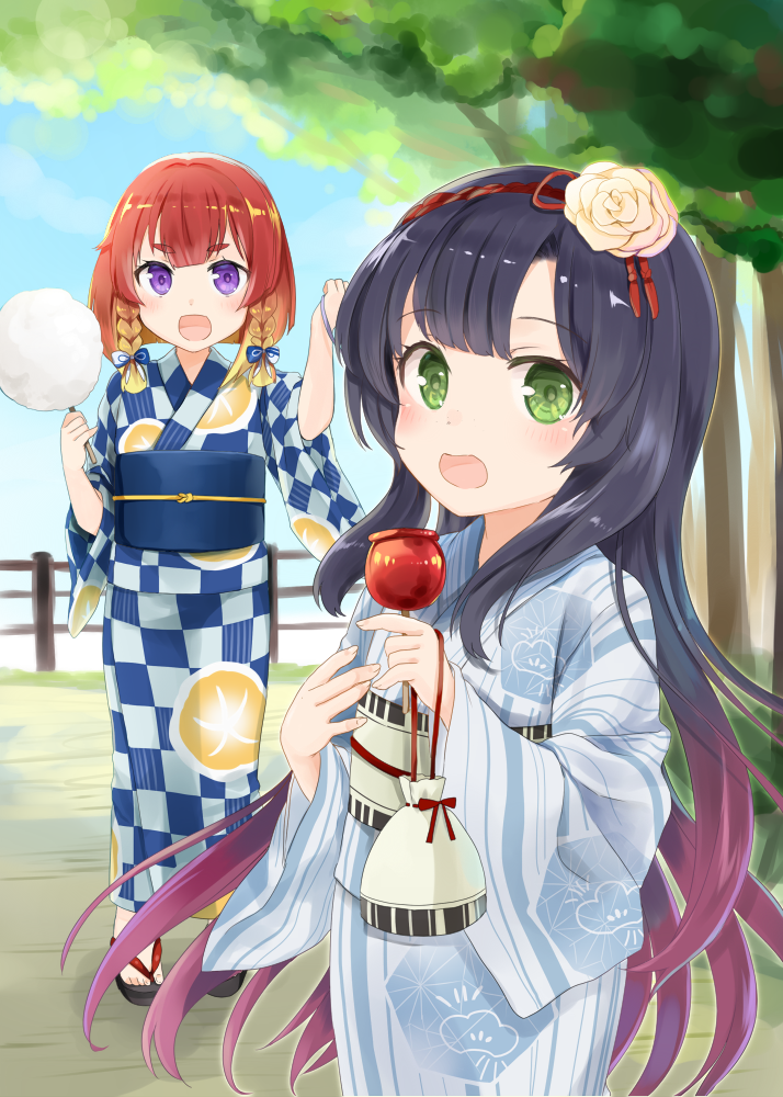 2girls blue_kimono blush candy_apple checkered checkered_kimono cotton_candy day etorofu_(kantai_collection) fence flower food grass green_eyes hair_flower hair_ornament japanese_clothes kantai_collection kimono kinchaku long_hair long_sleeves looking_at_viewer matsuwa_(kantai_collection) multicolored_hair multiple_girls obi open_mouth outdoors pouch purple_hair redhead sash shiny shiny_hair short_hair sky striped striped_kimono thick_eyebrows tree twintails very_long_hair violet_eyes wide_sleeves yukata yuna_(yukiyuna)