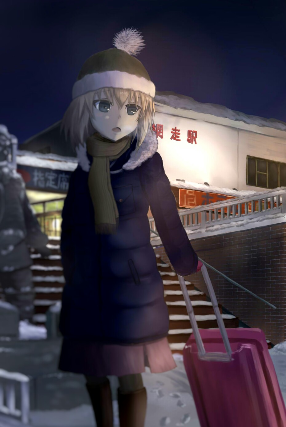 1girl black_background black_footwear blonde_hair blue_coat blue_eyes blurry blurry_foreground bobblehat breath briefcase brown_scarf building casual depth_of_field footprints fringe fusou_(fuso0205) girls_und_panzer hat highres holding katyusha location_request long_sleeves medium_skirt night night_sky pantyhose pink_skirt red_hat skirt sky snow solo stairs statue translation_request winter winter_clothes