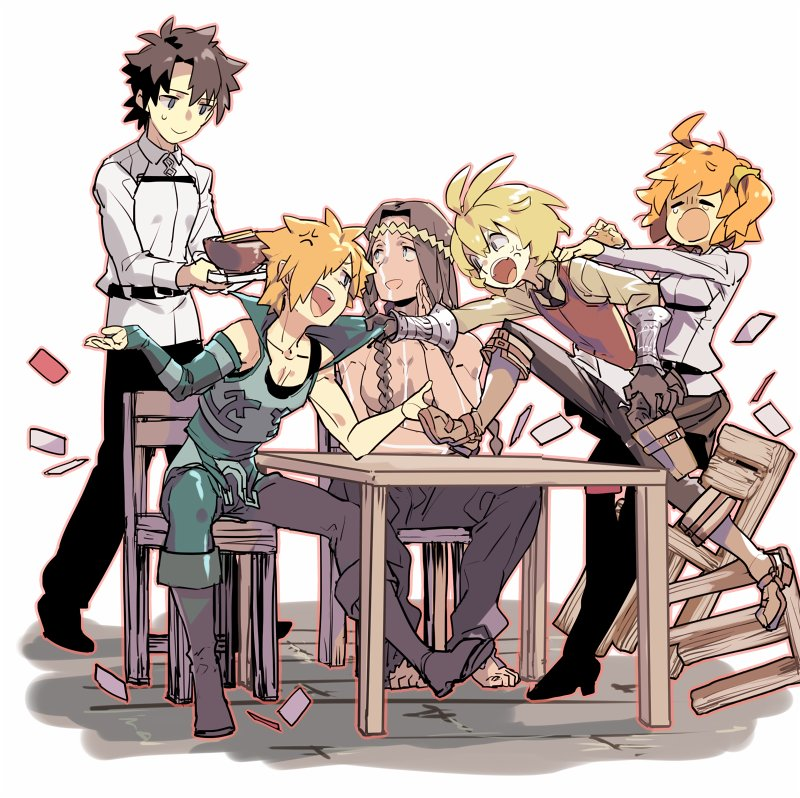 1girl 4boys anger_vein archer_(fate/extra) billy_the_kid_(fate/grand_order) black_hair blonde_hair boots braid collar_grab crying fate/extra fate/grand_order fate_(series) fujimaru_ritsuka_(female) fujimaru_ritsuka_(male) geronimo_(fate/grand_order) hair_over_one_eye holster multiple_boys native_american one_side_up orange_hair short_hair simple_background sin_(hankotsu_bunny) sitting sleeveless smile sweatdrop table uniform white_background wooden_chair wooden_table