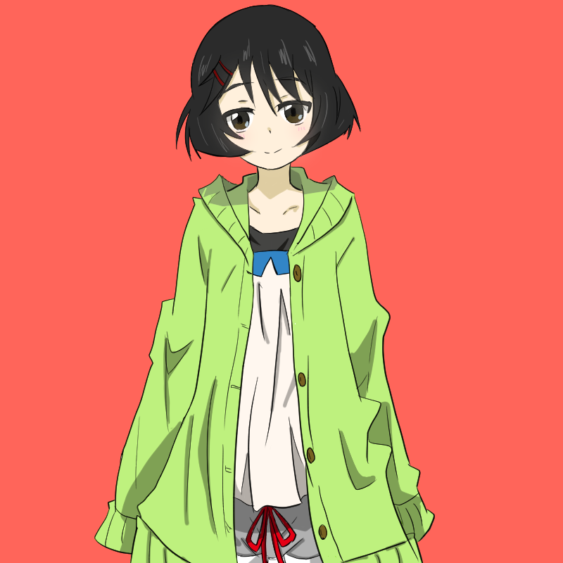1girl bangs black_eyes black_hair blue_shorts cardigan casual closed_mouth girls_und_panzer green_sweater hair_ornament hairclip hood hoodie kisaragi_yukitora light_smile long_sleeves looking_at_viewer open_cardigan open_clothes pink_background shirt short_hair shorts solo standing upper_body utsugi_yuuki white_shirt
