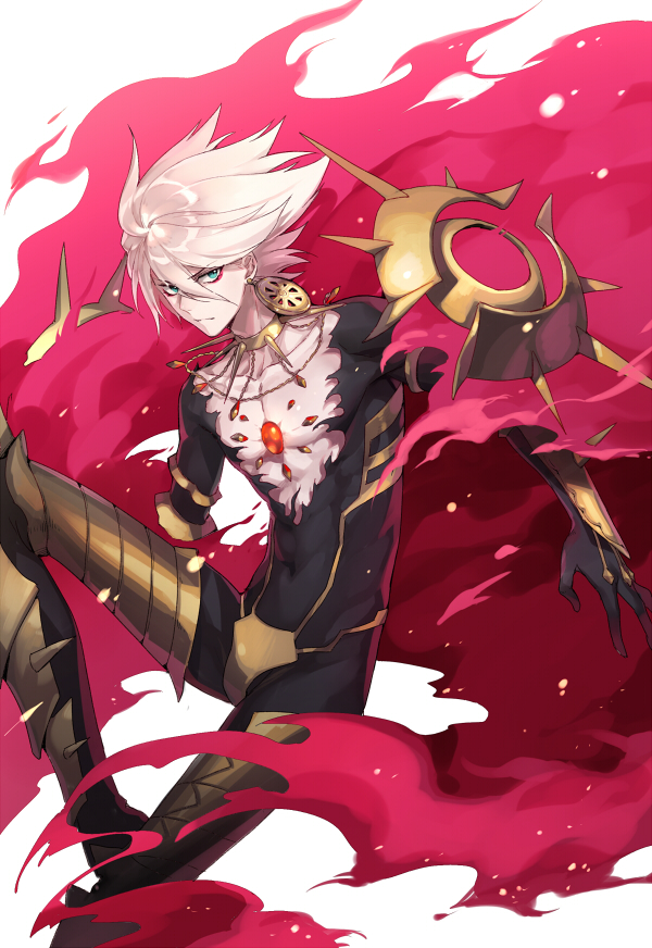 1boy blue_eyes bodysuit cape collar covered_navel earrings fate/grand_order fate_(series) hair_between_eyes jewelry kangetsu_(fhalei) karna_(fate) looking_at_viewer male_focus necklace solo spiked_collar spikes torn_clothes white_hair