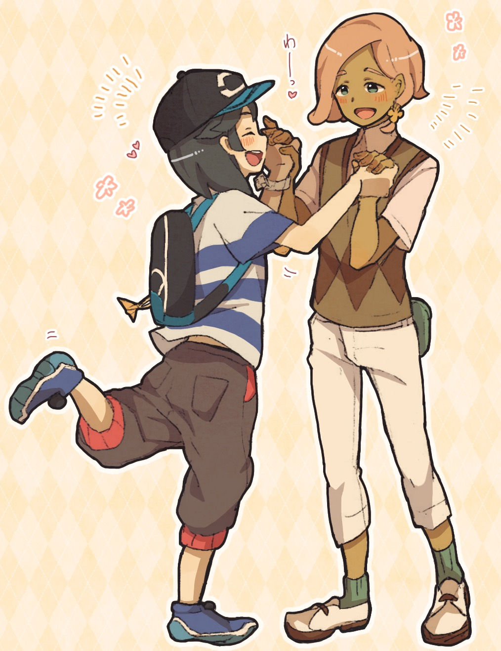 2boys androgynous aoya_(ayoyame18) backpack bag bangs baseball_cap black_hair black_hat blue_eyes capri_pants dark_skin dark_skinned_male hat highres ilima_(pokemon) male_focus multiple_boys open_mouth pants pink_hair pokemon pokemon_(game) pokemon_sm shirt short_hair smile striped striped_shirt sweater_vest swept_bangs t-shirt you_(pokemon_sm) z-ring