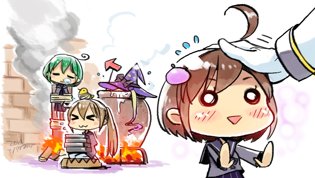 >_< 1boy 4girls :3 admiral_(kantai_collection) ahoge animal animal_on_head bird bound brown_hair burning_at_the_stake cha_(kantai_collection) chibi chick closed_eyes fire hair_ornament hairband hat hiyoko_(kantai_collection) ishidaki kantai_collection long_hair majokko_(kantai_collection) midori_(kantai_collection) multiple_girls nonco nose_bubble on_head petting rashinban_musume school_uniform serafuku short_hair sleeping tied_to_stake tied_up torture triangle_mouth x3