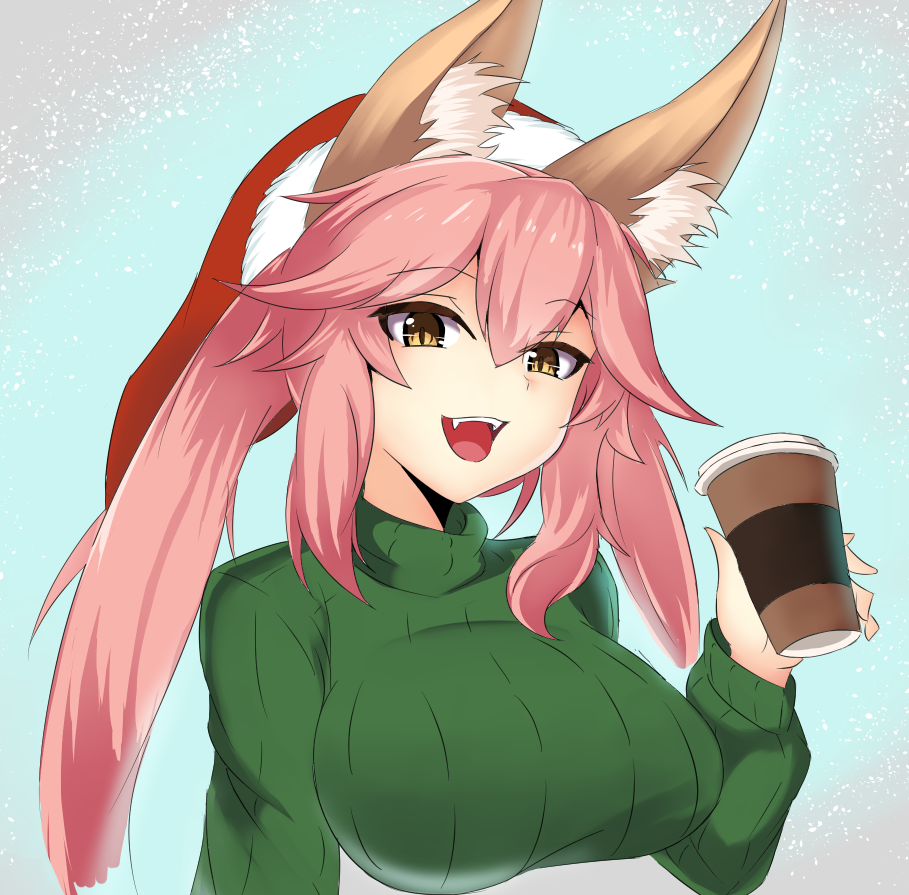 1girl animal_ears breasts casual fate/extra fate/grand_order fate_(series) fox_ears hat impossible_clothes large_breasts long_hair looking_at_viewer open_mouth pink_hair santa_hat solo steam_captein sweater sweater_vest tagme tamamo_(fate)_(all) tamamo_no_mae_(fate) turtleneck turtleneck_sweater yellow_eyes