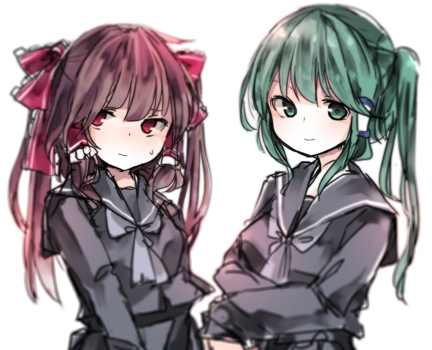 2girls alternate_hairstyle blush bowtie brown_hair collar green_eyes green_hair hair_accessories hair_tubes hakurei_reimu kochiya_sanae otome_kaname pout red_eyes school_uniform seifuku smile sweat touhou